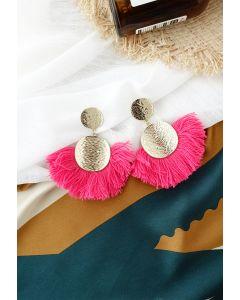 Tassel Gold Round Earrings in Magenta