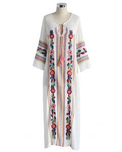 Boho Blumen - Weißes Krepp Langes Kleid