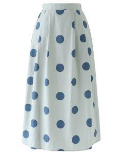 Contrast Polka Dots Print Midi Skirt in Pea Green