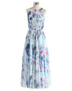 Ruhiges Blau, Aquarellblumen, langes Kleid