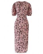 Animal Print Bowknot Shift Dress in Pink