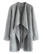 Einfach gestrickt - Claret offener Mantel in Grau