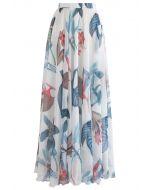 Tropische Blumenaquarelle - Maxiskirt auf Weiß
