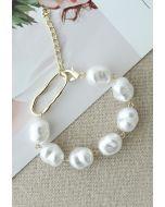 Irregular White Pearl Beaded Bracelet